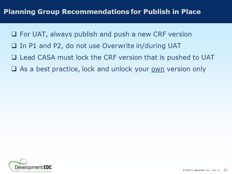 Planning Group Recommendations for Publish in Place