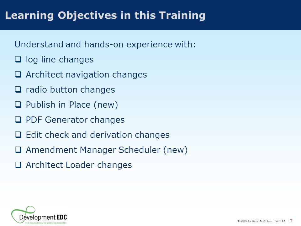 Learning Objectives in this Training