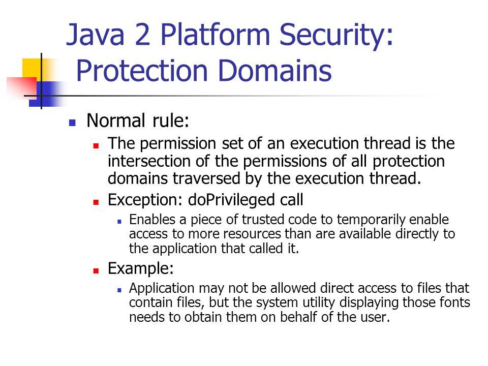 Java 2 Platform Security: Protection Domains