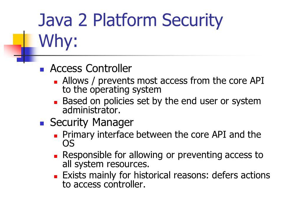 Java 2 Platform Security Why: