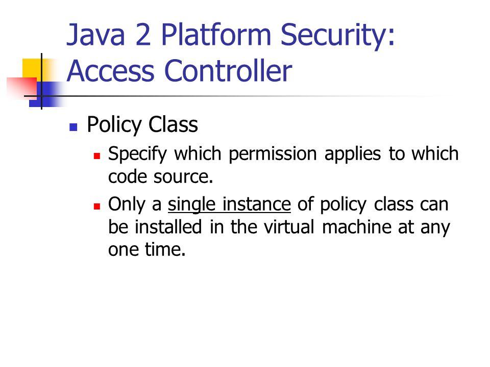 Java 2 Platform Security: Access Controller
