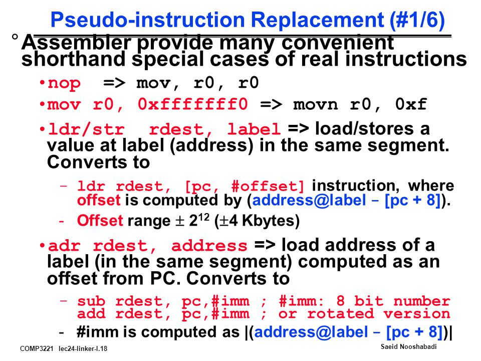 Pseudo-instruction Replacement (#1/6)