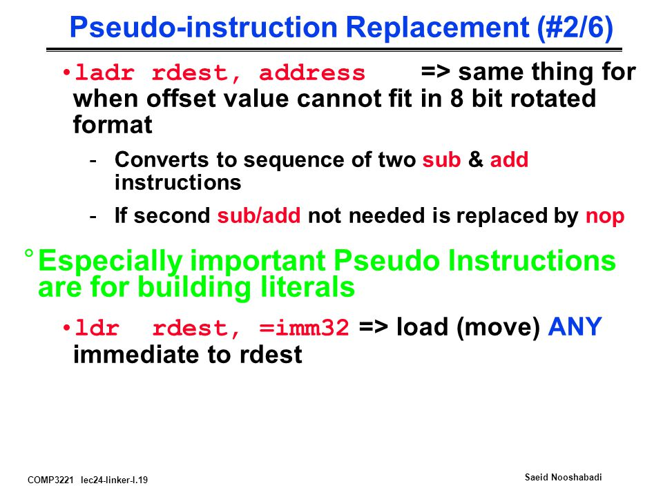 Pseudo-instruction Replacement (#2/6)