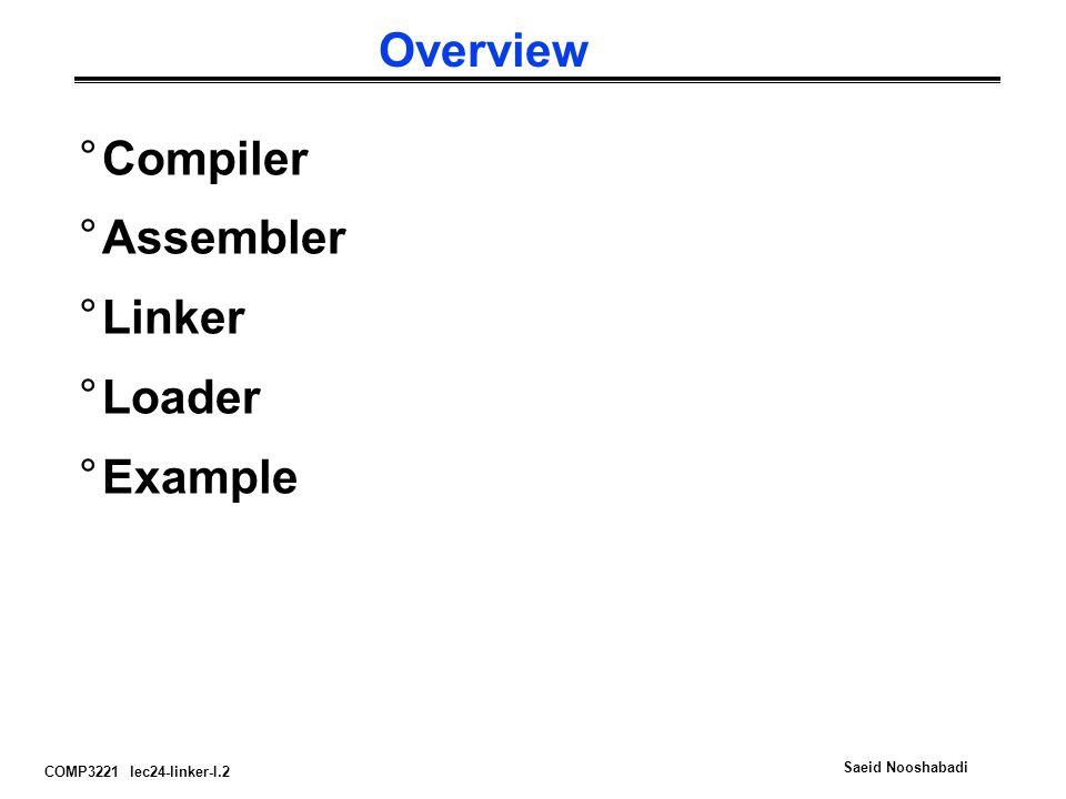 Overview Compiler Assembler Linker Loader Example