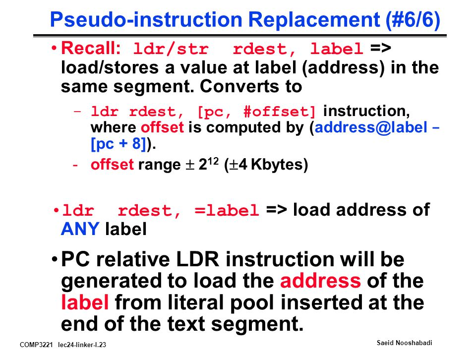 Pseudo-instruction Replacement (#6/6)