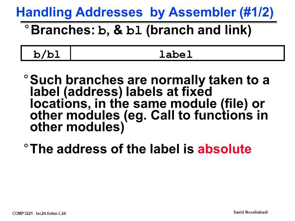 Handling Addresses by Assembler (#1/2)