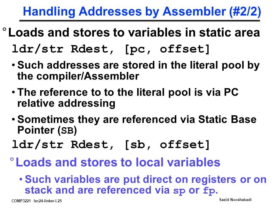 Handling Addresses by Assembler (#2/2)