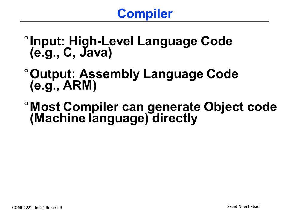 Compiler Input: High-Level Language Code (e.g., C, Java) Output: Assembly Language Code (e.g., ARM)