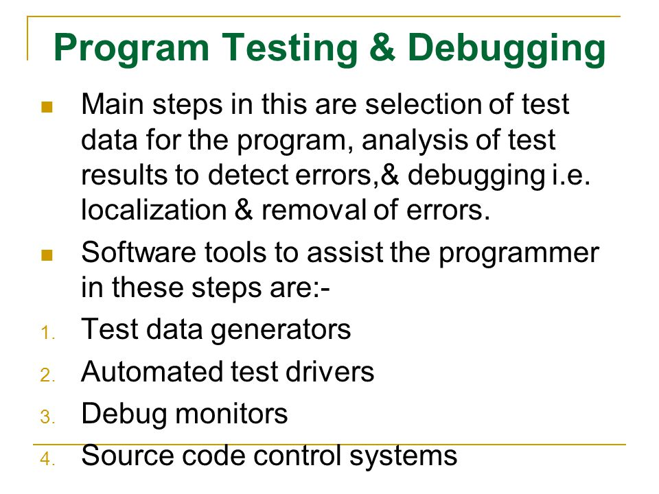 Program Testing & Debugging