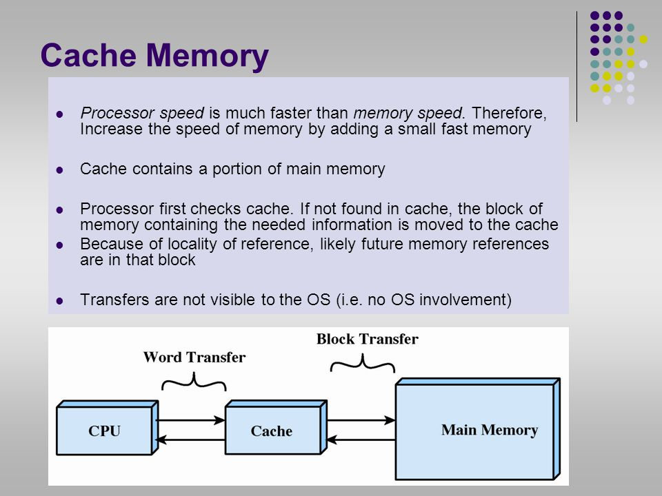 Cache Memory Processor speed is much faster than memory speed. Therefore, Increase the speed of memory by adding a small fast memory.