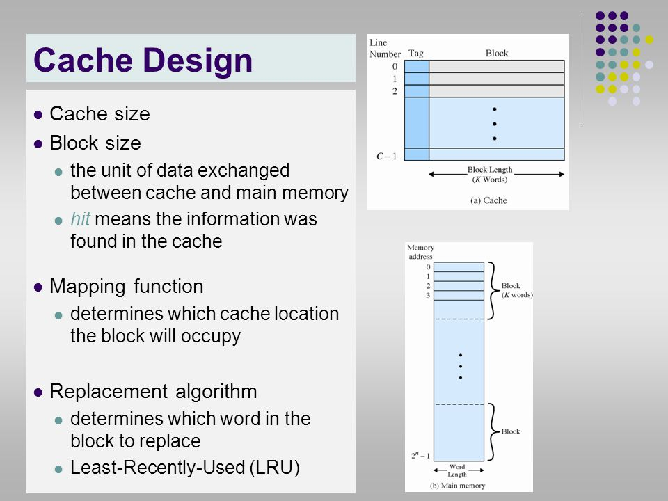 Cache Design Cache size Block size Mapping function