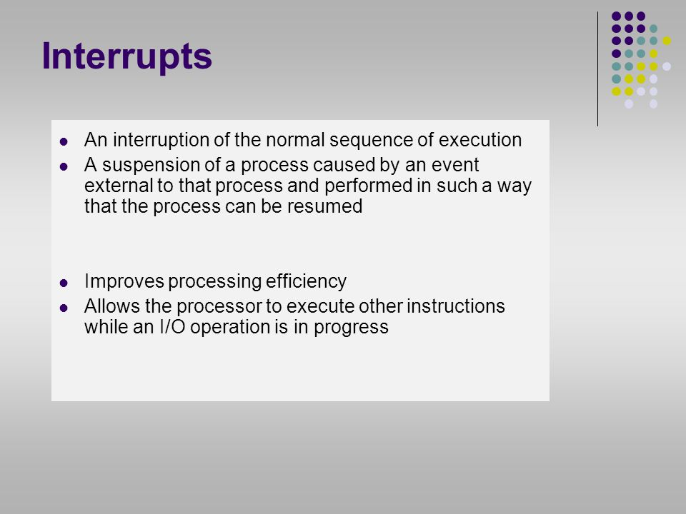 Interrupts An interruption of the normal sequence of execution