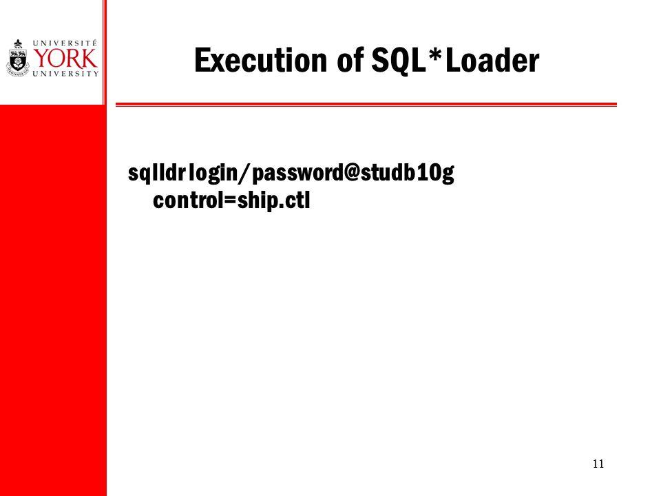 Execution of SQL*Loader