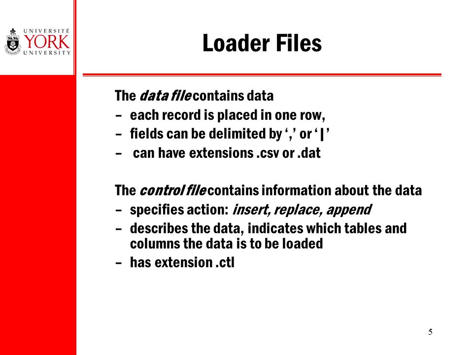 Loader Files The data file contains data