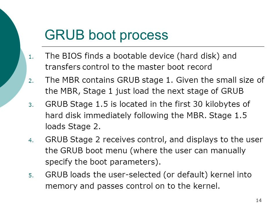 GRUB boot process The BIOS finds a bootable device (hard disk) and transfers control to the master boot record.