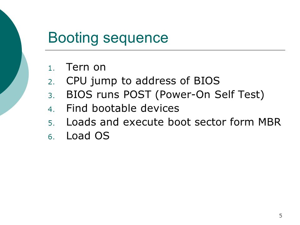 Booting sequence Tern on CPU jump to address of BIOS