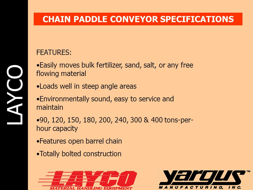 CHAIN PADDLE CONVEYOR SPECIFICATIONS