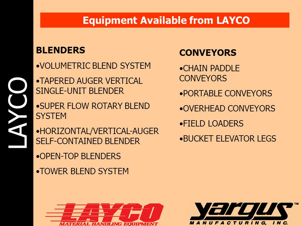 Equipment Available from LAYCO