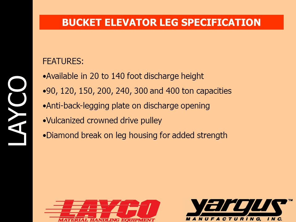BUCKET ELEVATOR LEG SPECIFICATION