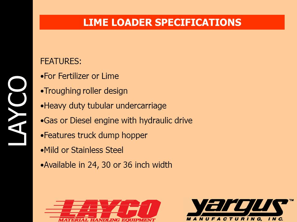 LIME LOADER SPECIFICATIONS