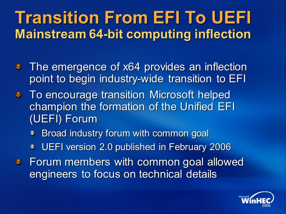 Transition From EFI To UEFI Mainstream 64-bit computing inflection
