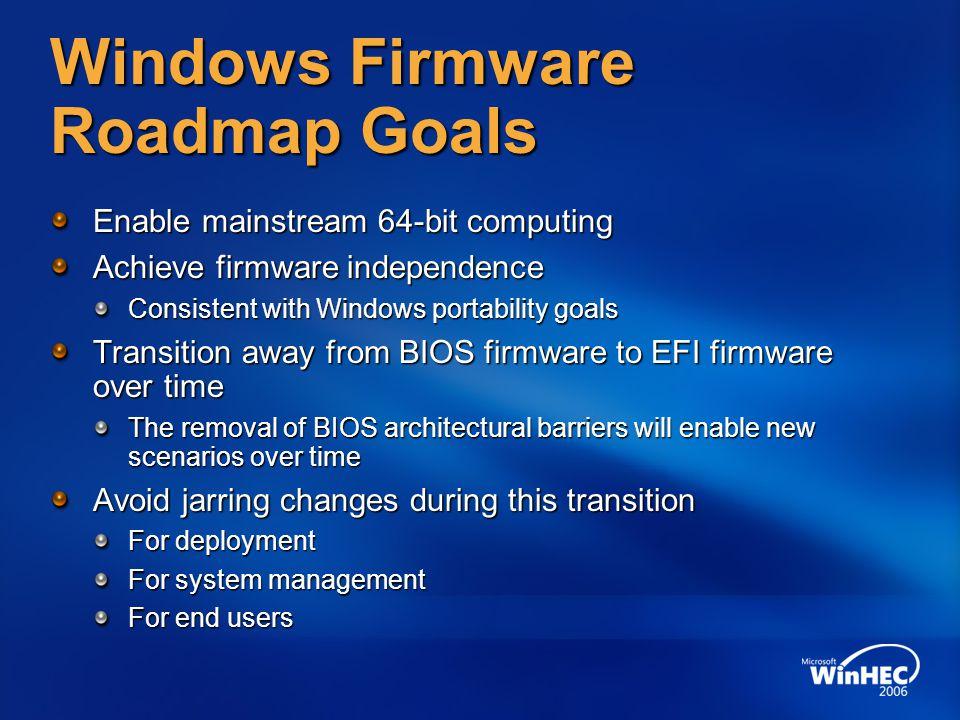 Windows Firmware Roadmap Goals