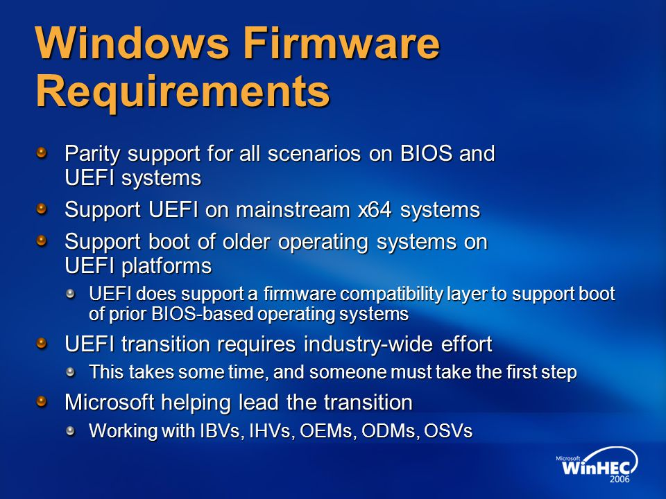 Windows Firmware Requirements