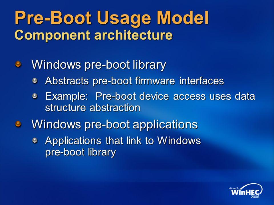 Pre-Boot Usage Model Component architecture