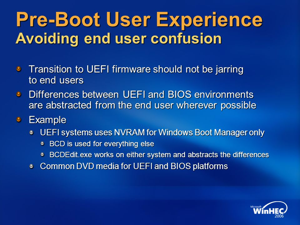 Pre-Boot User Experience Avoiding end user confusion