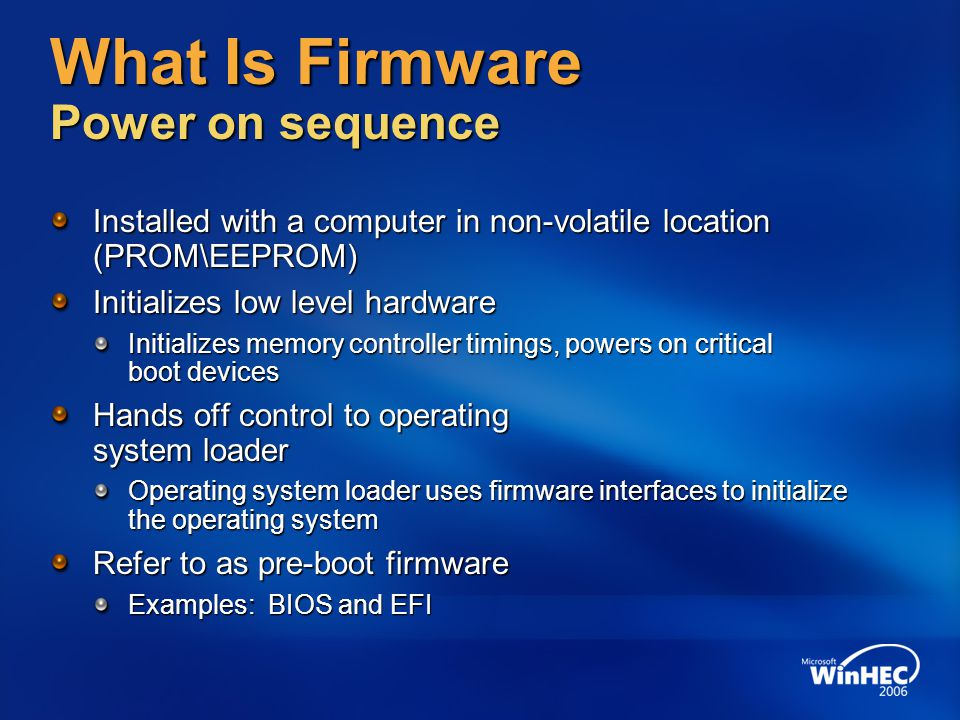 What Is Firmware Power on sequence