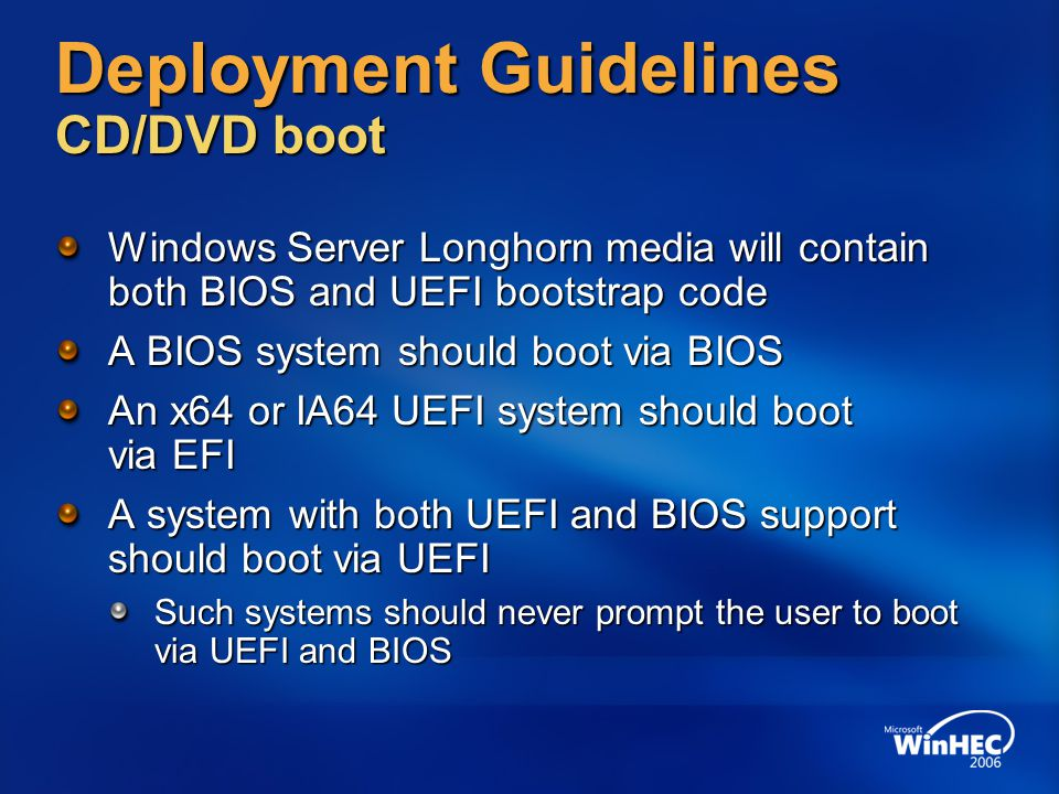 Deployment Guidelines CD/DVD boot