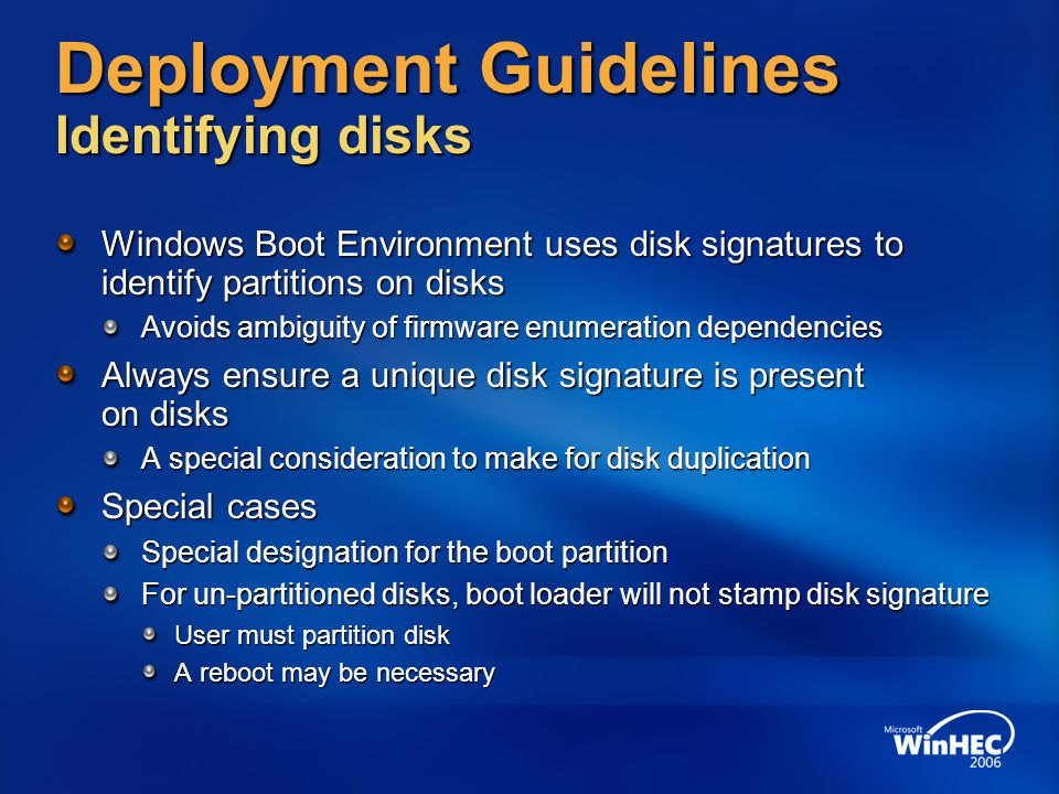 Deployment Guidelines Identifying disks