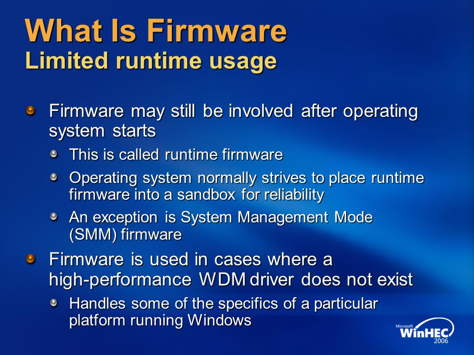 What Is Firmware Limited runtime usage