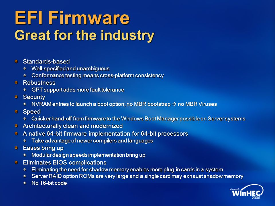 EFI Firmware Great for the industry