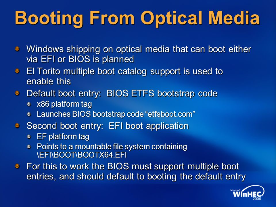 Booting From Optical Media