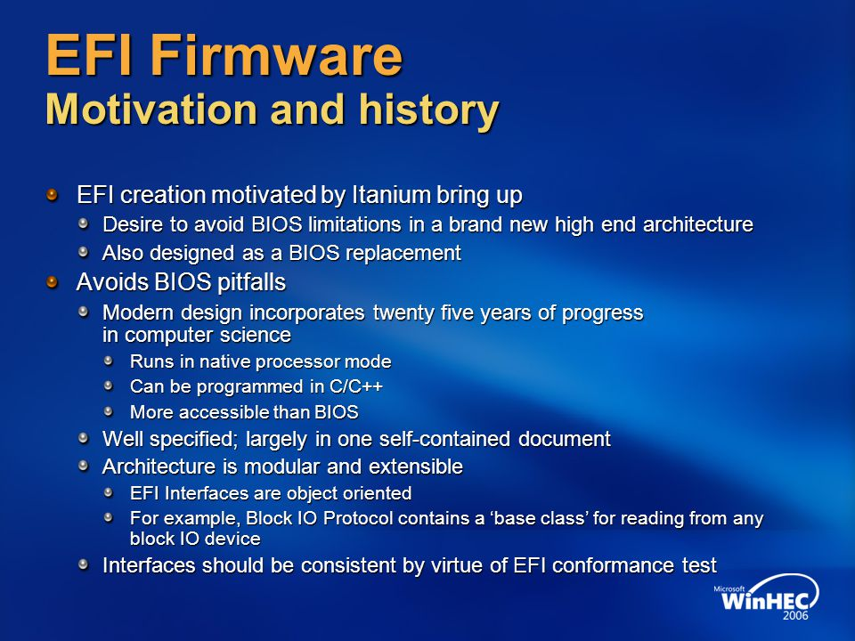 EFI Firmware Motivation and history