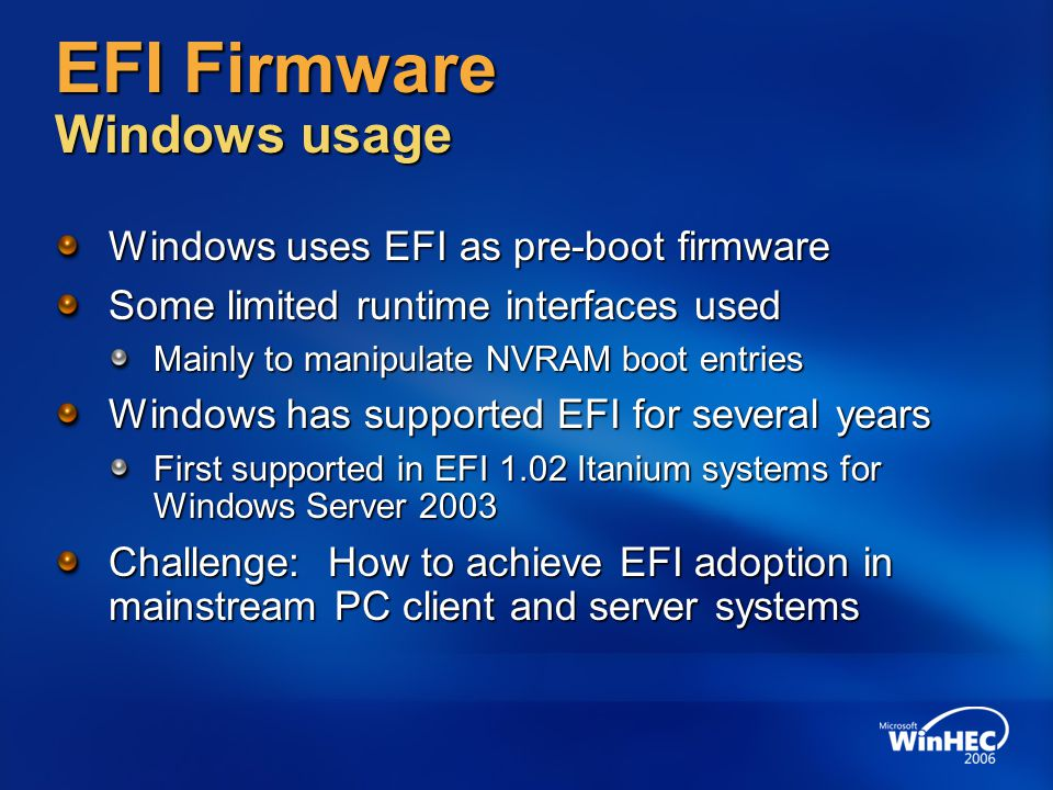 EFI Firmware Windows usage