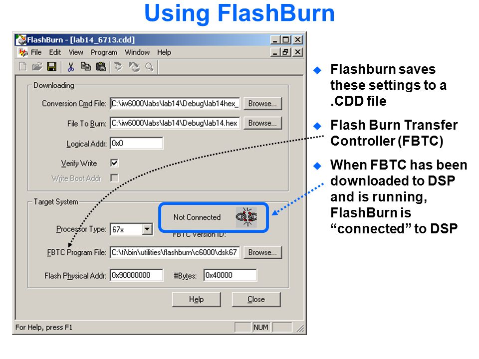 Using FlashBurn Flashburn saves these settings to a .CDD file