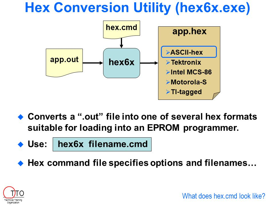 Hex Conversion Utility (hex6x.exe)