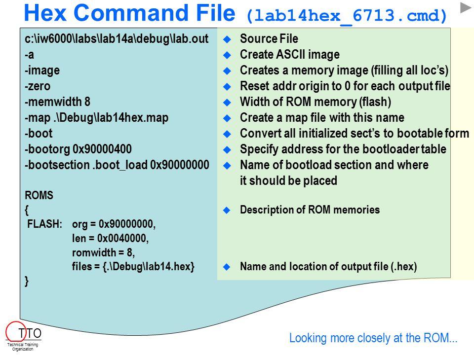 Hex Command File (lab14hex_6713.cmd)