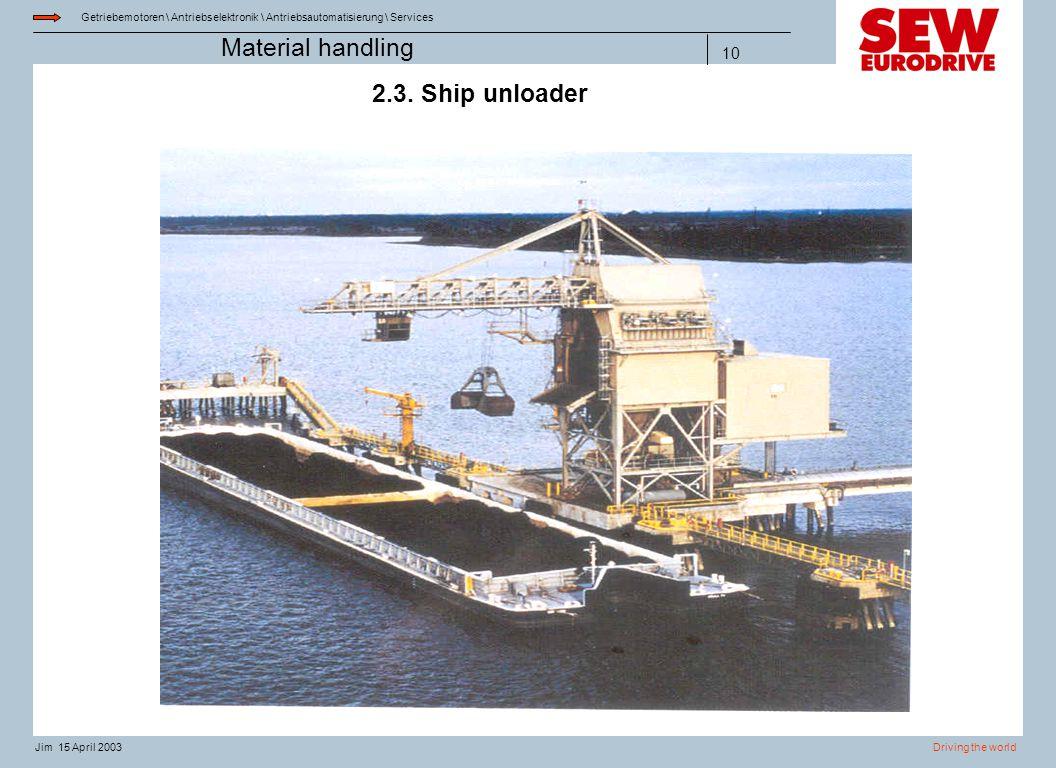 Material handling 14.04.2017 2.3. Ship unloader