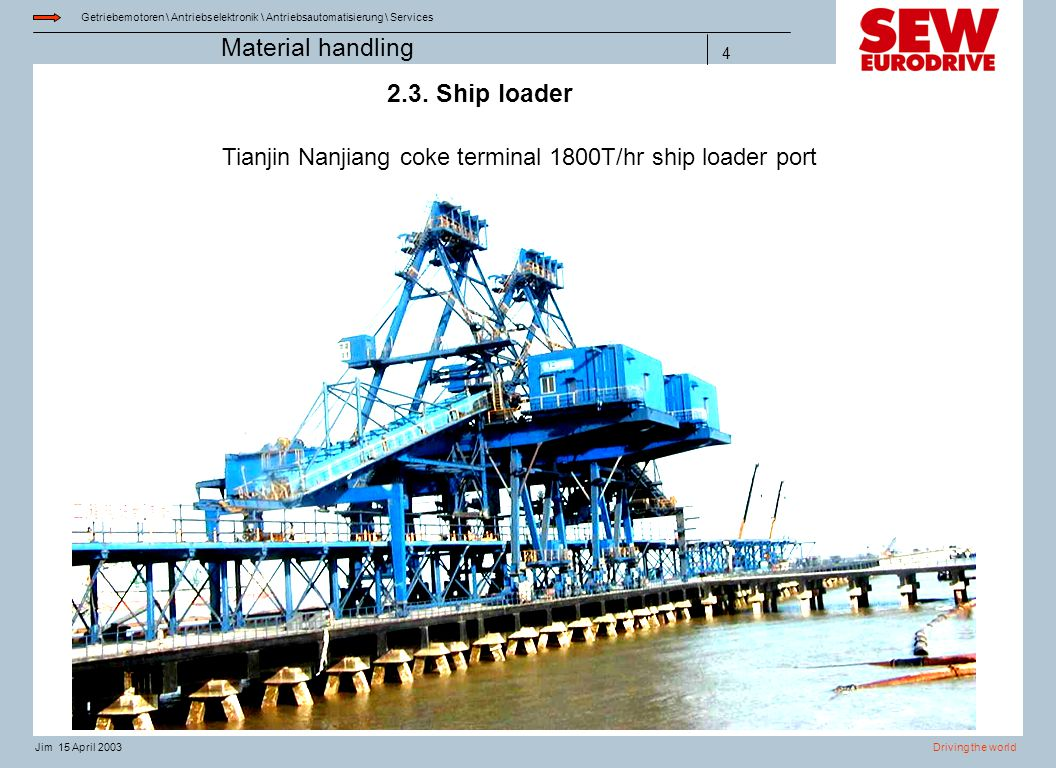 Tianjin Nanjiang coke terminal 1800T/hr ship loader port