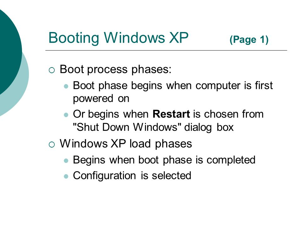 Booting Windows XP (Page 1)