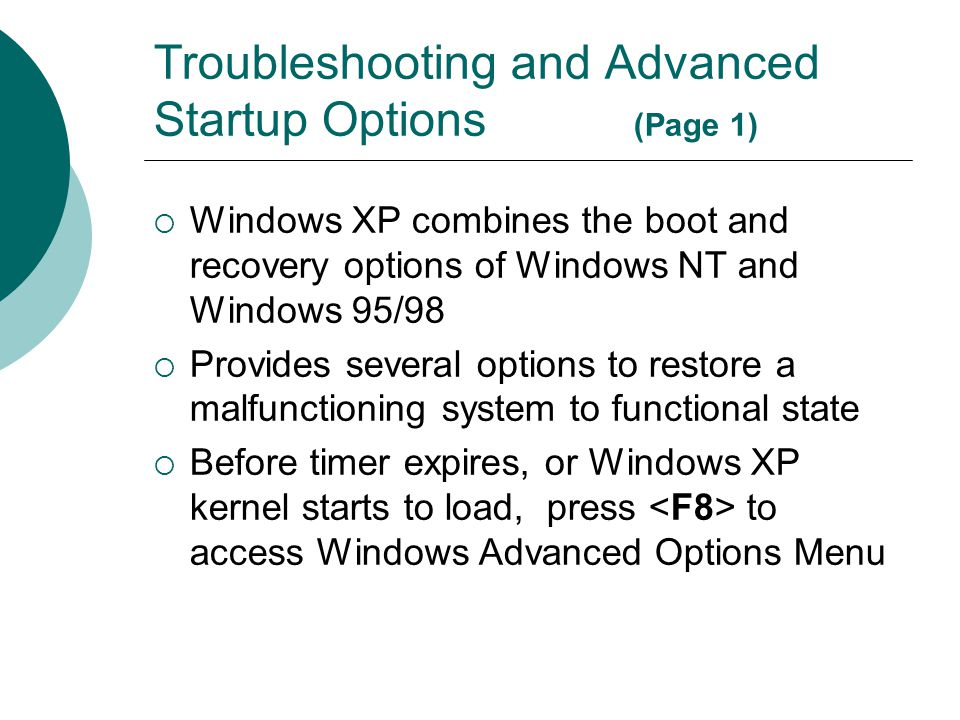 Troubleshooting and Advanced Startup Options (Page 1)