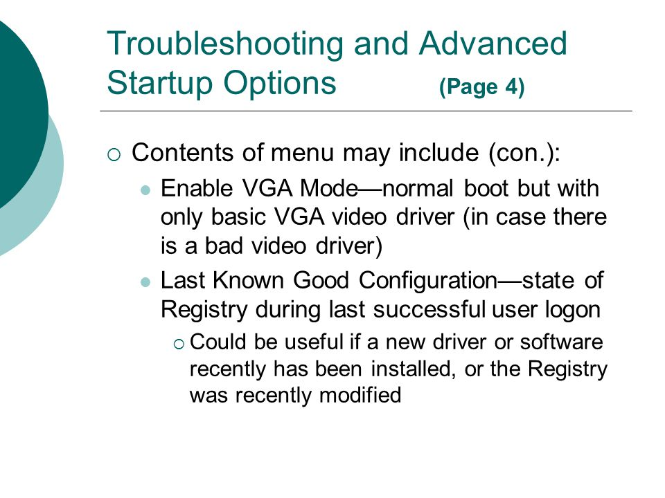 Troubleshooting and Advanced Startup Options (Page 4)
