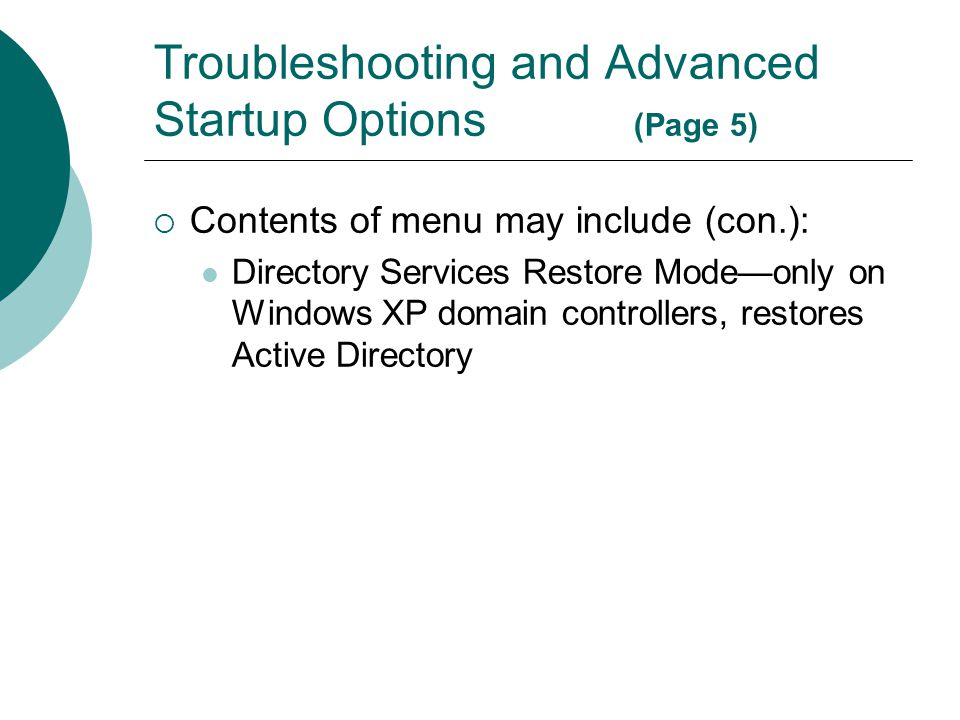Troubleshooting and Advanced Startup Options (Page 5)