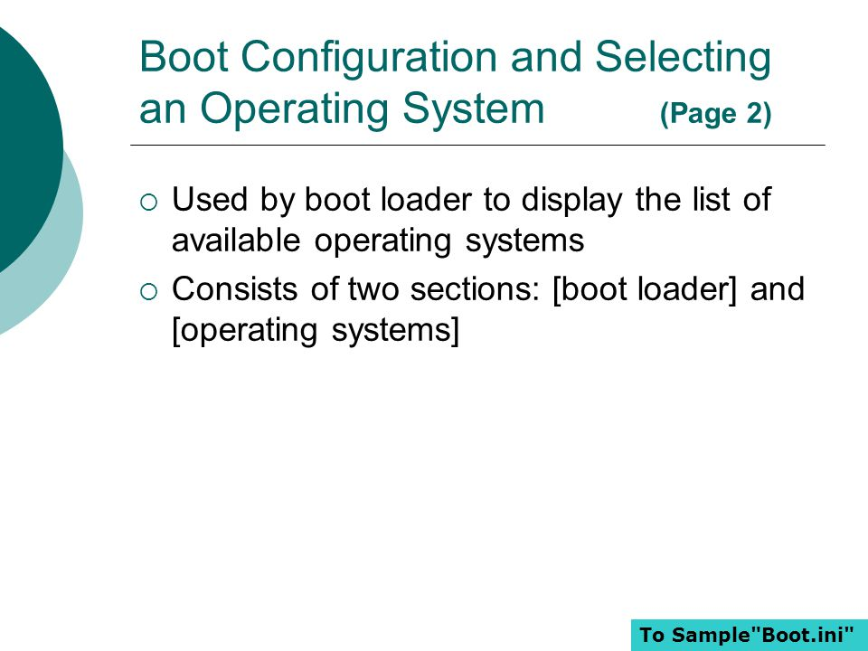 Boot Configuration and Selecting an Operating System (Page 2)