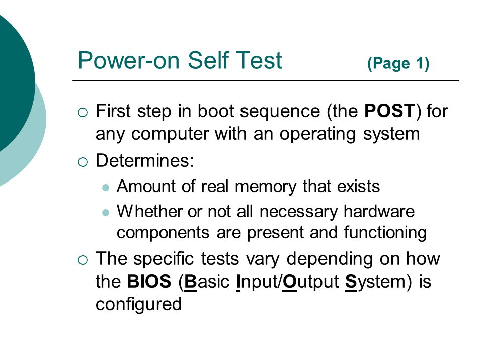 Power-on Self Test (Page 1)