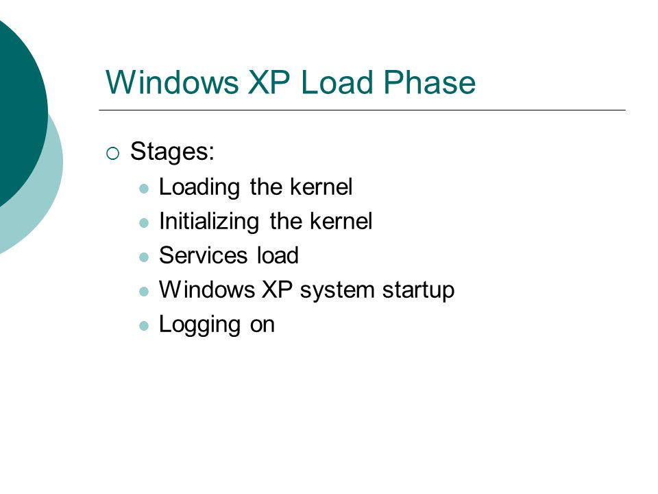Windows XP Load Phase Stages: Loading the kernel