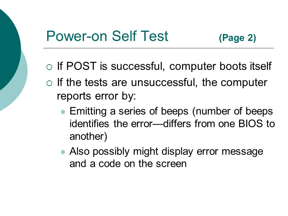 Power-on Self Test (Page 2)
